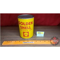 "Golden Shell Motor Cardboard Oil Tin (Full) (5-1/2""H x 4""Dia)"