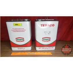"Texaco ""Regal Oil PC R&O"" Tins (2) (1 Full & 1 Partial) (9-1/2""H x 6-3/4""W x 4-1/4""D)"