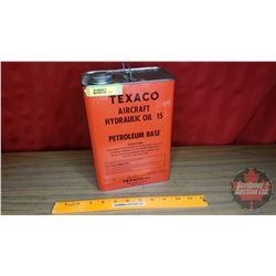 "Texaco ""Aircraft Hydraulic Oil 15"" Petroleum Base (Empty) (9-1/2""H x 6-3/4""W x 4-1/4""D)"