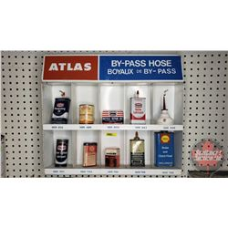"ATLAS Metal Store Display (16""H x 19""W x 4""D) with Variety of Gas Station Products (Incl: Texaco, Sc"