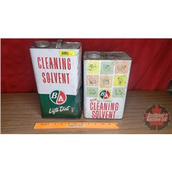 "B-A Tins (2): ""Cleaning Solvent"" (Lifts Dirt 11""H x 6-1/4""W x 4-1/4""D) & (New Multi Purpose 9-3/4""H"