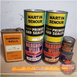 Household Renovation Tins (17) (Mostly Full or Partial Full) Incl. Marshall Wells Paint, Putty & Oil