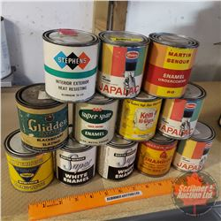 "Household Renovation Tins (12) Assorted Paint (Mostly Full) (All 1/2 Pint) (3-1/4""H x 2-3/4""Dia)"