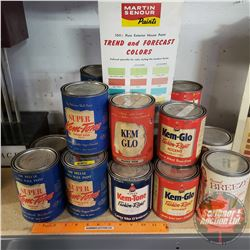 Large Variety of Household Paint (17 Cans) w/Martin Senour Paint Sample Chart