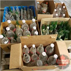 Pallet Lot: Glass Pop Bottles (Coke, Hires, Canada Dry, etc) (Approx 125 bottles) (1.5L, 1L & 300ml)