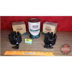 "Texaco New/Old Stock (2) Distributer Cap & Rotors (8 Cylinder) & (1) Cardboard Tin ""Texamatic"""