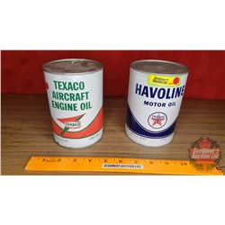 "Texaco Tins (2) ""Aircraft Engine Oil"" & ""Havoline Motor Oil"" (Both Full, Both 1 Quart) (Both 5-1/2""H"
