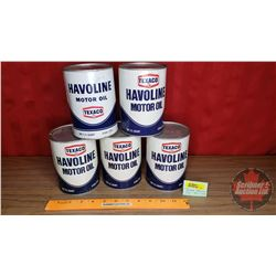 "Texaco Havoline Tins (5) (All : 5-1/2""H x 4""Dia) (Note: 1 Full)"