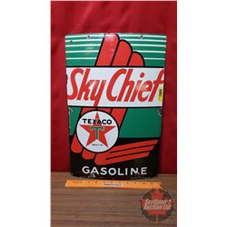 "Texaco ""Sky Chief Gasoline"" Enamel Sign (18""H x 12""W)"