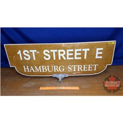 "Street Sign ""1st Street E Hamburg Street"" Double Side/Reflective (12""H x 35-1/2""W)"