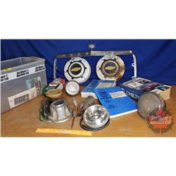 Tote Lot: Automotive (Incl. Chrysler Grill Bezel, Chevy Hubcaps, Lights, Ford Truck Shop Manuals & C