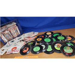 "Tote Lot: Large Variety of 45's (Mostly 80's Rock) (34lbs) (10""H x 17""W x 13""D)"