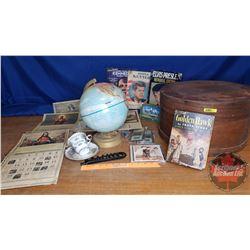 Cheese Drum: Elvis Memorial Book, JFK Mag, Globe, Religious Calendars, Tea Cup & Saucer, Million Dol