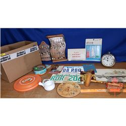 Box Lot: Big Ben Alarm Clock, Collector Spoons, Orange Crush Frisbee, Dice, etc