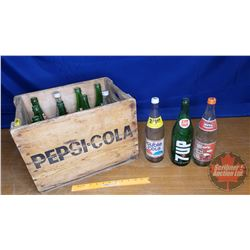 Wooden Pepsi Crate 1976 with 12 Asstd Large Pop Bottles