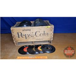 "Pepsi-Cola Wood Crate w/Large Variety of 45's (200+) (10""H x 19-1/2""W x 12""D)"