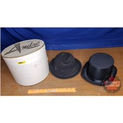 "Top Hat & Felt Hat in Round Hat Box (9""H x 11""Dia)"