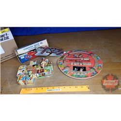 Box Lot: Vintage Children's Items (Dominion Bob Skates, Spelling & Counting Board, Wooden Puzzle Blo