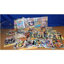 Wire Basket Lot: Large Collection of Comic Books (60+) (See Pics!)