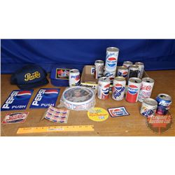 Tray Lot: Pepsi Vintage Collector Cans, Hats, Stickers, Embroidered Patch, etc
