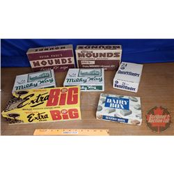 Tray Lot: Vintage Confectionery Boxes (Incl. Milky Way, Mounds, Extra Big, etc)