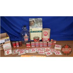 Box Lot - Red & White Collection: Spice Tins, Vinegar Jug, Pricing Cards, etc