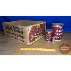 "Magic Baking Powder Combo : Wooden Crate & 3 Tins (each different size) (Crate Size: 8""H x 19""W x 14"