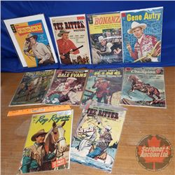 Tray Lot: Western Themed Comic Books (10) (Roy Rogers, Zane Grey, Bonanza, etc