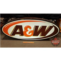 "Large A&W Oval Sign - Lighted (26""H x 60""W x 8-1/2""D)"
