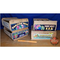 """Fruit Crates (4) See Pics for Varieties (Largest 6"""" x 16"""" x 17"""")"""