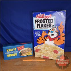 "Vintage Oversized Pantry Boxes (2): FROSTED FLAKES (26"" x 17"" x 6"") & KRAFT DINNER (17"" x 8"" x 4"")"