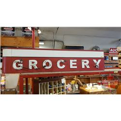 """Grocery"" Neon Sign : 2 Sided - Metal (Needs Repair/Some Tubes Damaged) (17""H x 77""L x 10""D)"