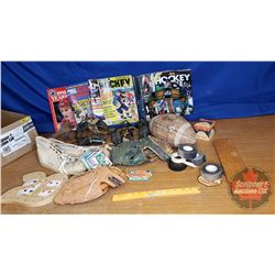 Box Lot: Vintage Sports Grouping (Baseball Gloves, Shoes, Catchers Mask, Sports Cards, etc)