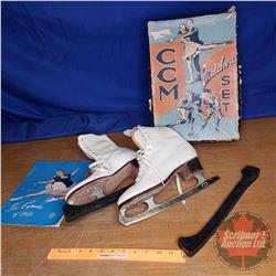 "Vintage Figure Skates in CCM Box (10-1/2"" Ladies) & 1949 Ice Capades Program"