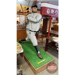"Fibreglass Statue of Babe Ruth (Sports Bar Décor) (Measures: 76""H incl Base) (Base Measures 82"" x 32"
