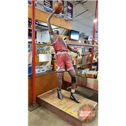 "Fibreglass Statue of Michael Jordan (Sports Bar Décor) (Measures: 108"" incl Base) (Base Measures 53"""