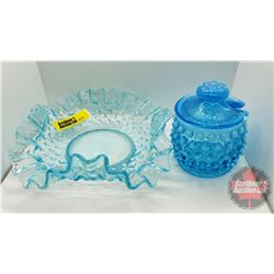 "Hobnail Glassware (2pcs) Blue : Jam Jar with Lid 3""H & Ruffled Dish 6-1/4"" across"