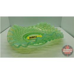 """Hobnail Green Vaseline Glass : Ruffled Dish 6"""" across"""