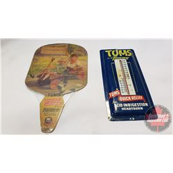 "Tums Pairing : 1 Cardboard Fan (11""x6"" & 1 Tin Thermometer (9"" x 4"")"