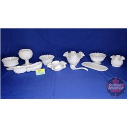 White Milk Glass Hobnail Collection (10pcs)