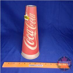 Coca-Cola Popcorn Container/Megaphone Cardboard w/Tin Rim
