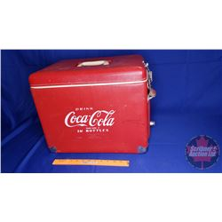 "Coca-Cola Picnic Cooler - Red Vinyl with Bottle Opener on Side (Made by Royal Mieco) (14""H x 17""W x"