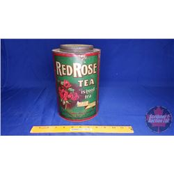 "Red Rose Tea Tin (9-1/2""H x 6""Dia)"