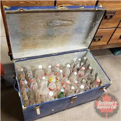 "Large Blue Tin Trunk (19""H x 35""W x 19-1/2""D) with Assorted Pop Bottles"