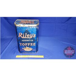 Riley's Toffee Counter Top Tin (Raised Lettering) Slant Lid