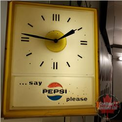"Light Up Pepsi Wall Clock ""…say Pepsi Please"" (16""H x 13""W x 10""D)"