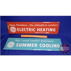 "GE Enamel Signs (2) ""Electric Heating"" & ""Summer Cooling""  (Both : 5-3/4""H x 23-3/4""W)"