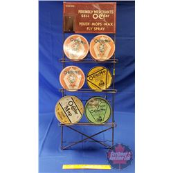 "Store Display Rack ""O-Cedar"" with Products (6 Tins) (Rack 41""H x 15""W x 12""D)"