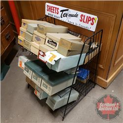 "Store Display Rack ""Sheets Tex-Made Slips"" with 27 Boxes of Slips !!! (Incl. Dominion, Acton, etc) ("