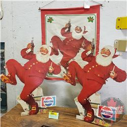 "Dancing Santa's : 1 Wall Hanging (17""x20"") & 2 Cardboard Cutout Counter Top Store Displays (18-1/2""H"